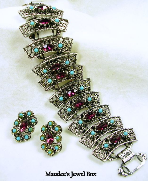 Vintage Simulated Turquoise and Amethyst Filigree Silver Tone Demi Parure