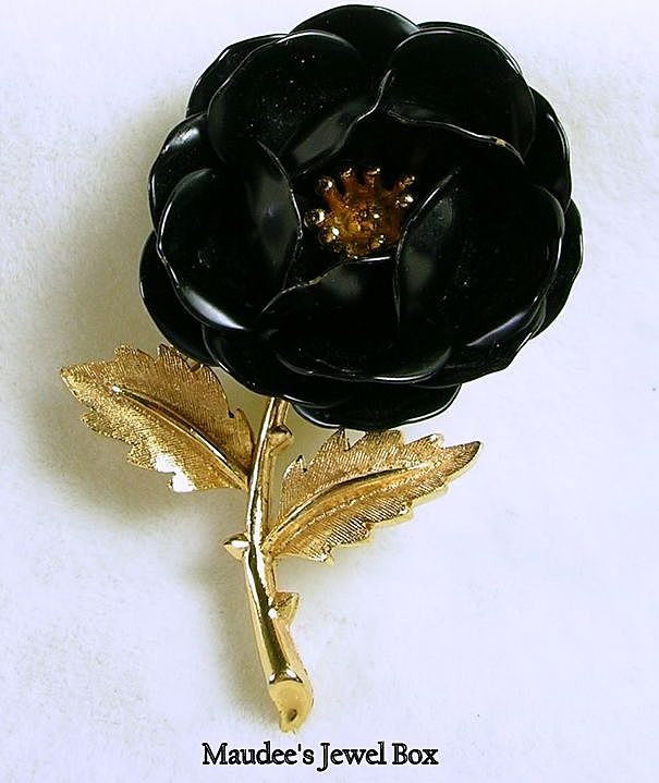 Signed Trifari Gold Tone Enamel Black Rose Brooch