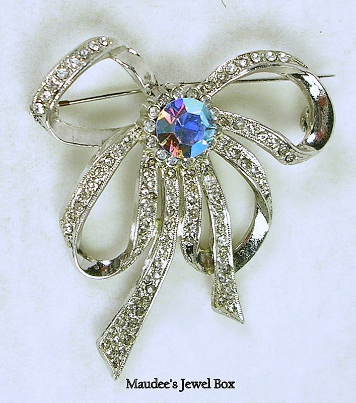 Rhinestone Bow Brooch Pin