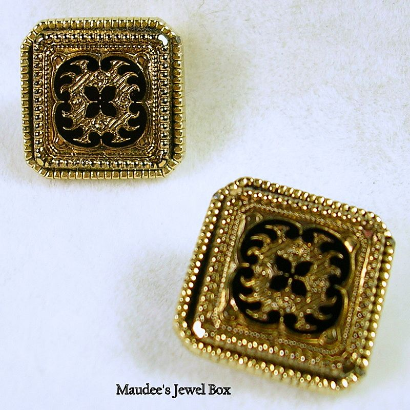 Signed SPHNX E183 Vintage Damask Design Black Enamel and Gold Tone Clip Earrings