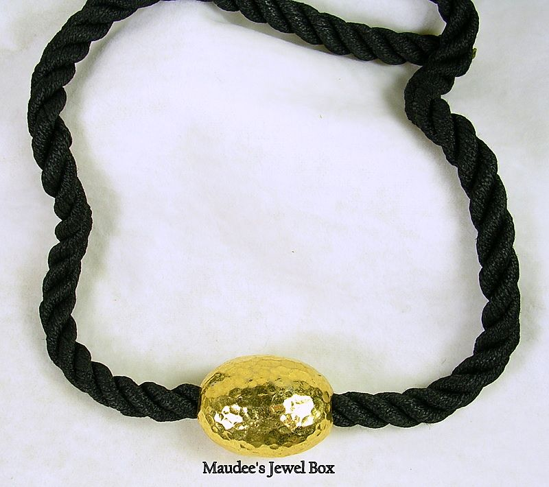 Vintage Black Silk Rope with Gold Tone Hammered Bead