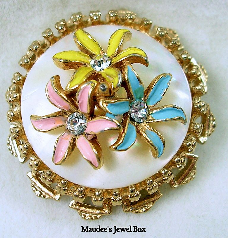 Vintage Mother of Pearl Floral Enamel Rhinestone Brooch Pin