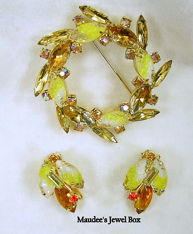 Vintage Sculpture Navettes and Crystal Rhinestone Topaz Wreath Demi Parure