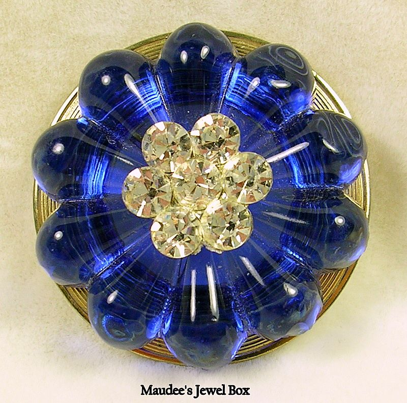 Vintage Sapphire Blue Art Glass with Chaton Rhinestone Crystals Brooch Pin