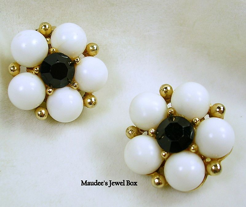 Weiss Black Rhinestones and White Beaded Clip Earrings