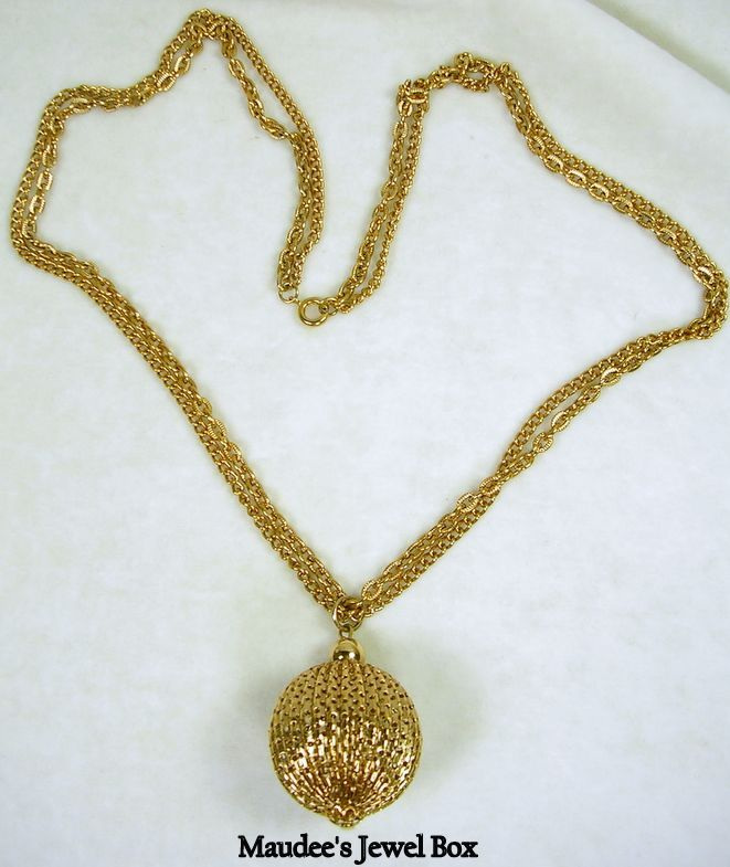 "Vintage 24"" Double Strand Oval Chain with an Ornate Ball Pendant"