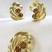 Lisner Vintage Gold Tone and Topaz Rhinestone Pin with Clip Earrings