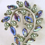 Kramer Vintage Silver Tone and Paisley Aurora Borealis Navette Pin Brooch