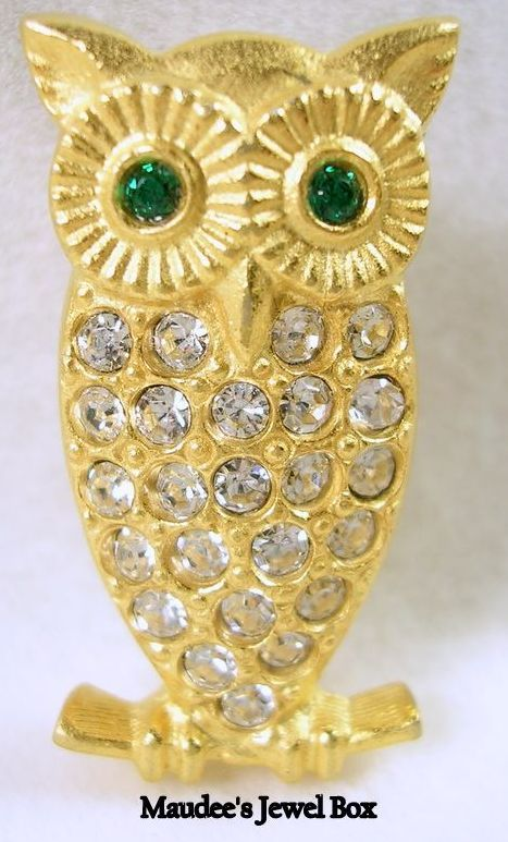 Vintage Gold Tone Owl with Emerald Green and Clear Rhinestones