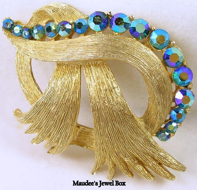 Vintage Gold Tone Ribbon Pin with Aurora Borealis Rhinestones