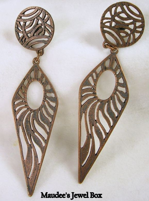 Vintage Copper Dangle Pierced Earrings