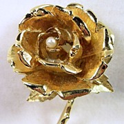 BOUCHER Vintage Rose Brooch Pin with Simulated Pearl