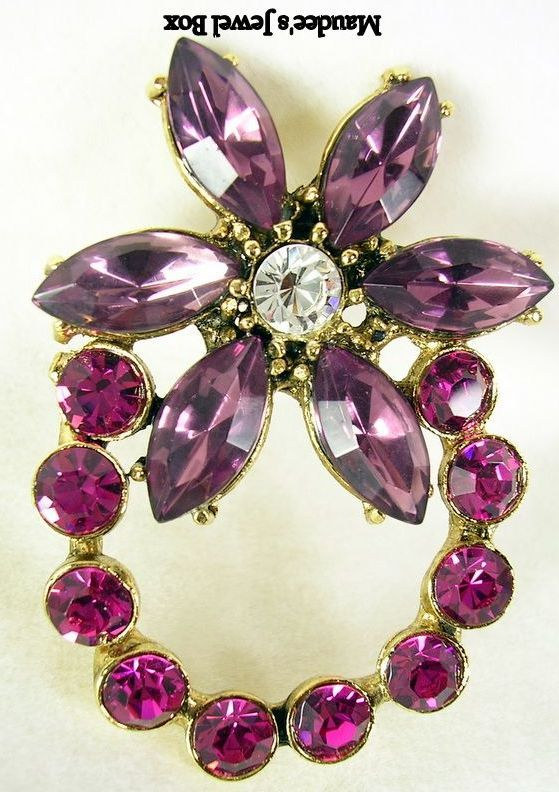 WEISS Amethyst Navettes and Round Crystal Brooch Pin