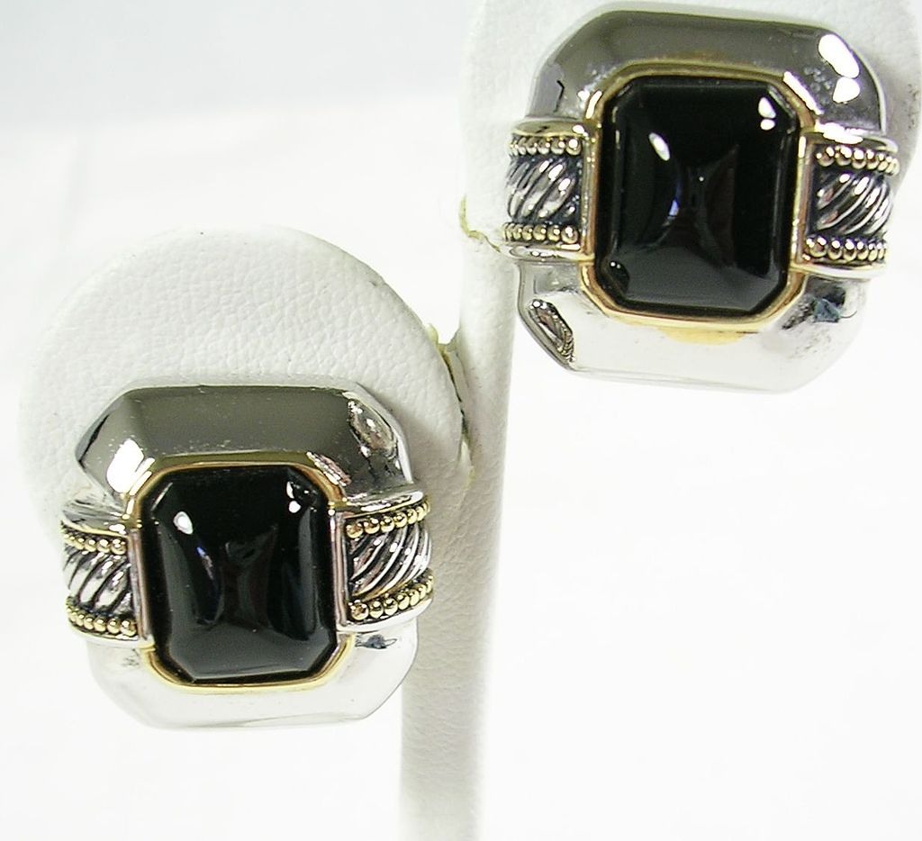 Vintage Onyx Simulate Two Tone Clip Earrings