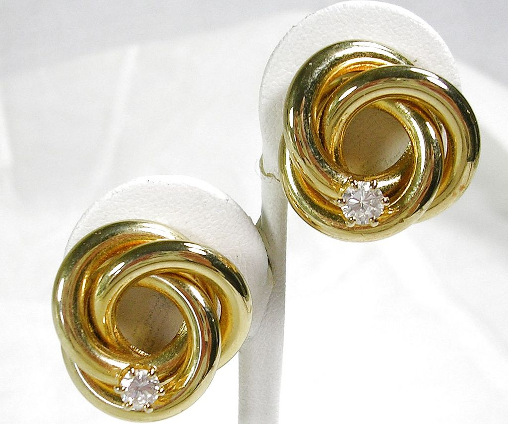 Vintage Love Knot Clip Earrings with a Diamond Simulant in the Center – c. 1970