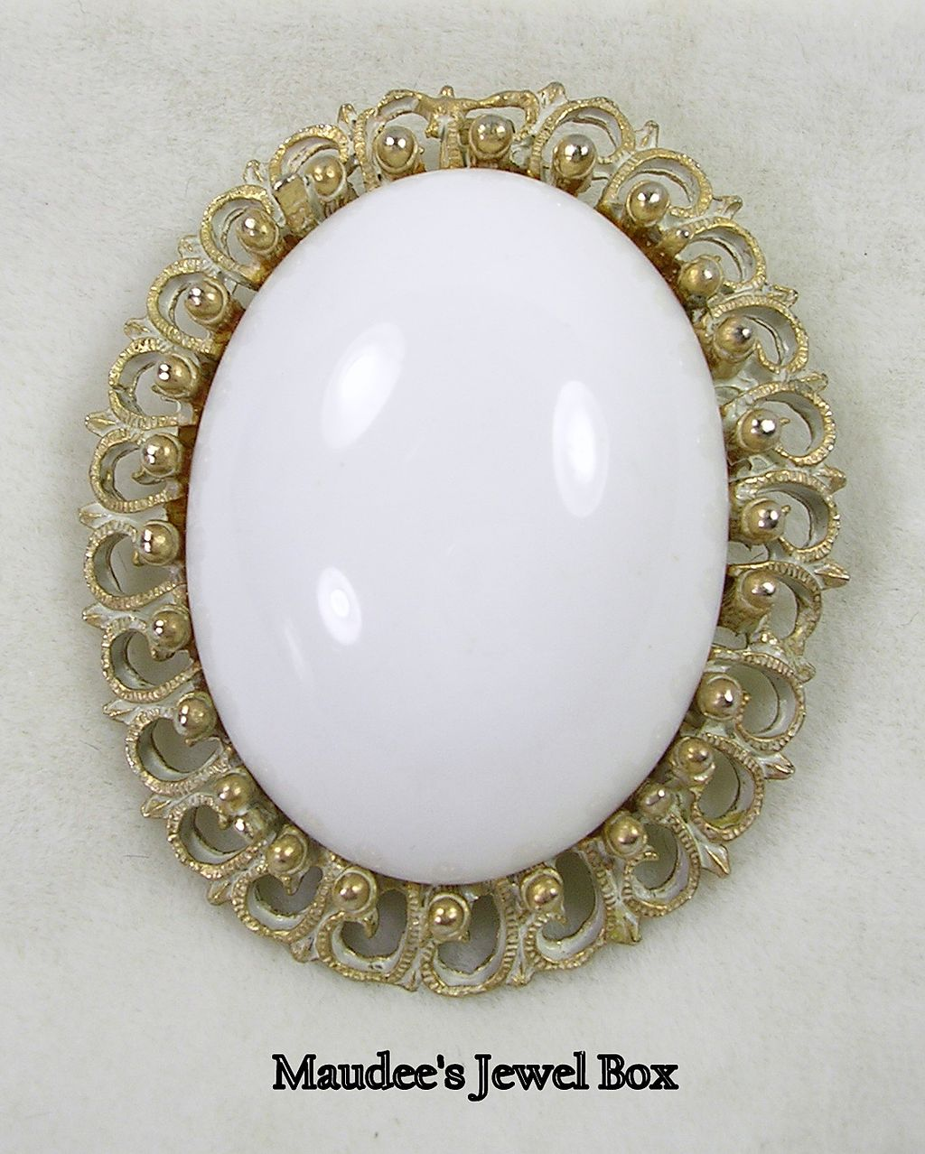 Vintage White Lucite Pendant or Brooch in White Antiqued Gold Tone