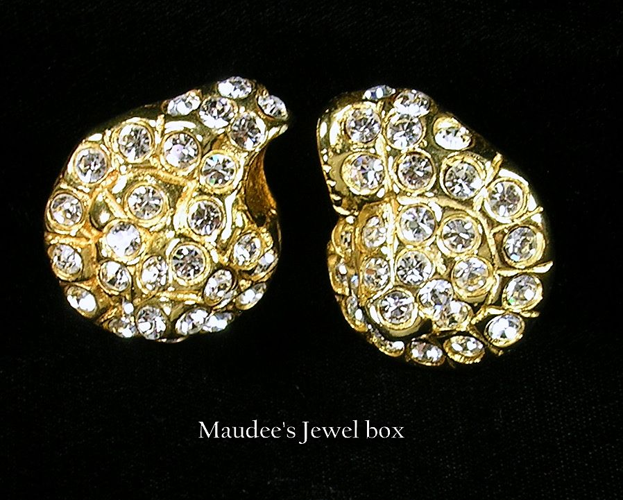 Large Earrings with Large Clear Rhinestones Goldtone