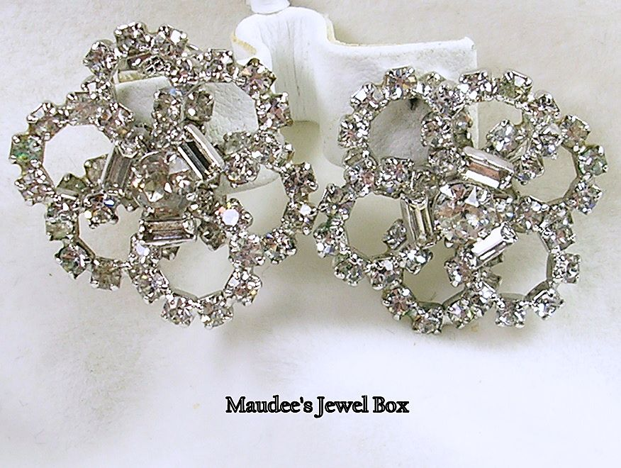 Signed Kramer of New York, Rhinestone Scalloped Star Burst Clip Earrings – Stunning!