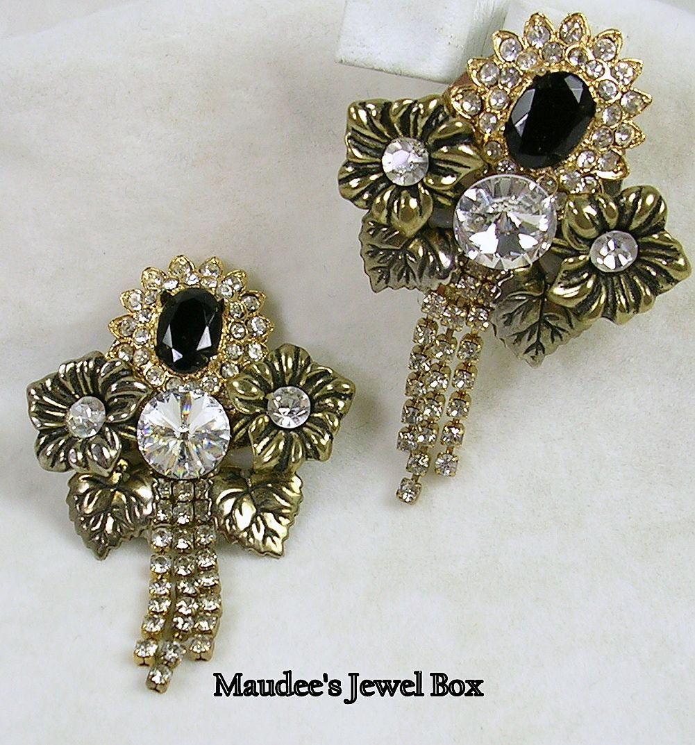 Vintage Floral Motif with Rhinestone Crystals, Simulated Onyx Clip Earrings