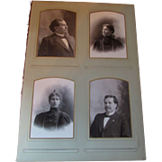Victorian Era Photo Album Page with Cabinet Cards of Couple and Children 1897