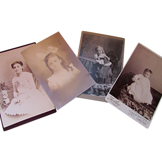 Four Sepia Photographs Cabinet Cards The Stages of a Girl's Life Early 20th Century