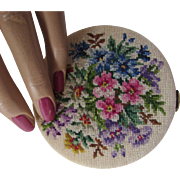 Compact with Petit Point Flower Design and Gold Tone Base