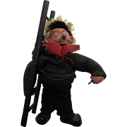 Miniature Steiff Mecki Hedgehog Chimney Sweep with Red Scarf and Black Accessories