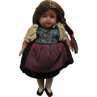 Tiny Doll House Size Doll in Ethnic Dress and Long Braids Marked