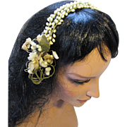 Bridal Wreath Headband in Faux Orange Blossom Buds and Rosettes