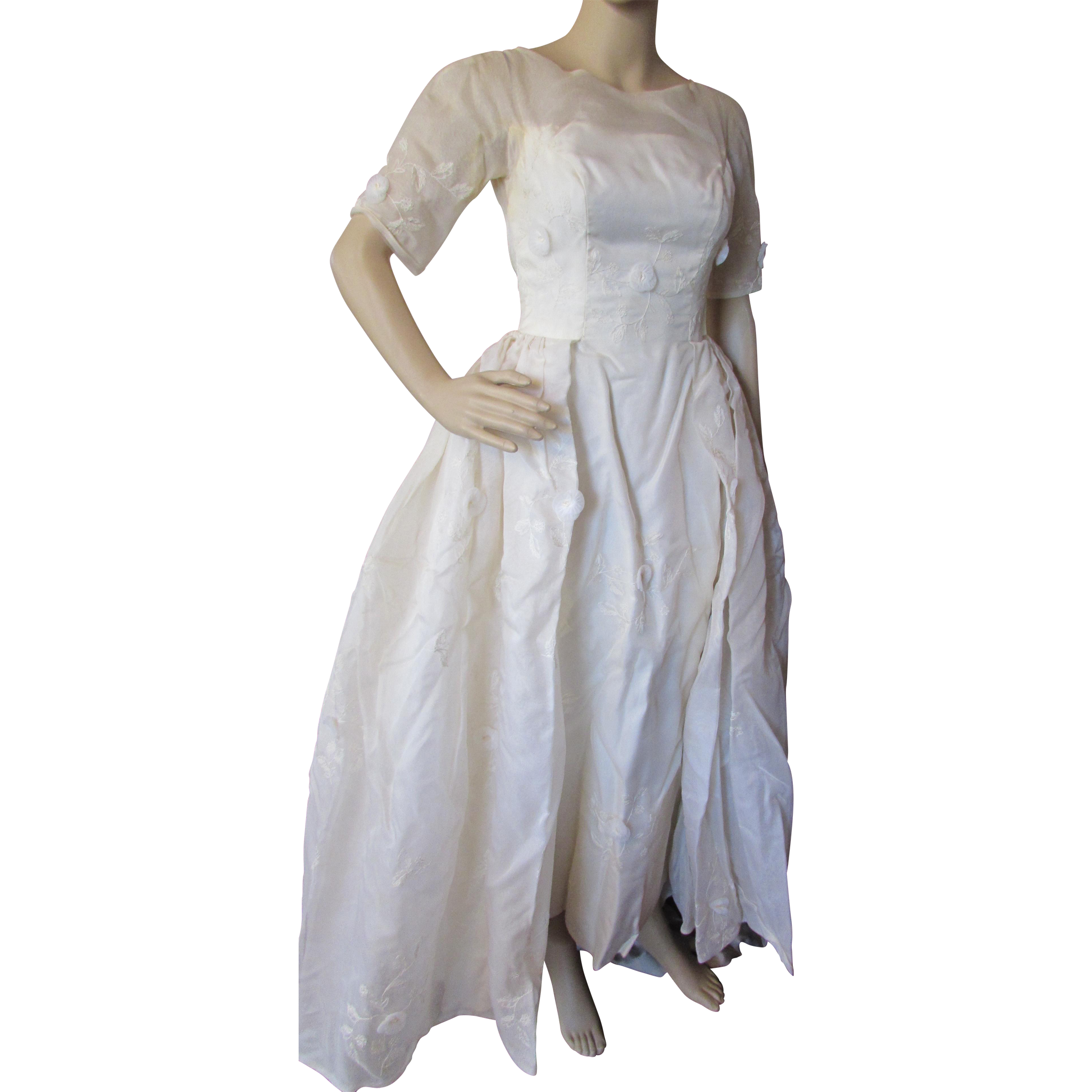 Summer Wedding Dress in Organdy with Flower Appliques '80's/'90's