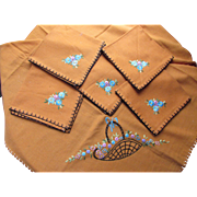 Squash Orange Luncheon or Bridge Set  Table Cover and Napkins with Basket Embroidery