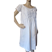 Farmhouse Style Vintage Nightgown in White Cotton and Eyelet Lace Trim