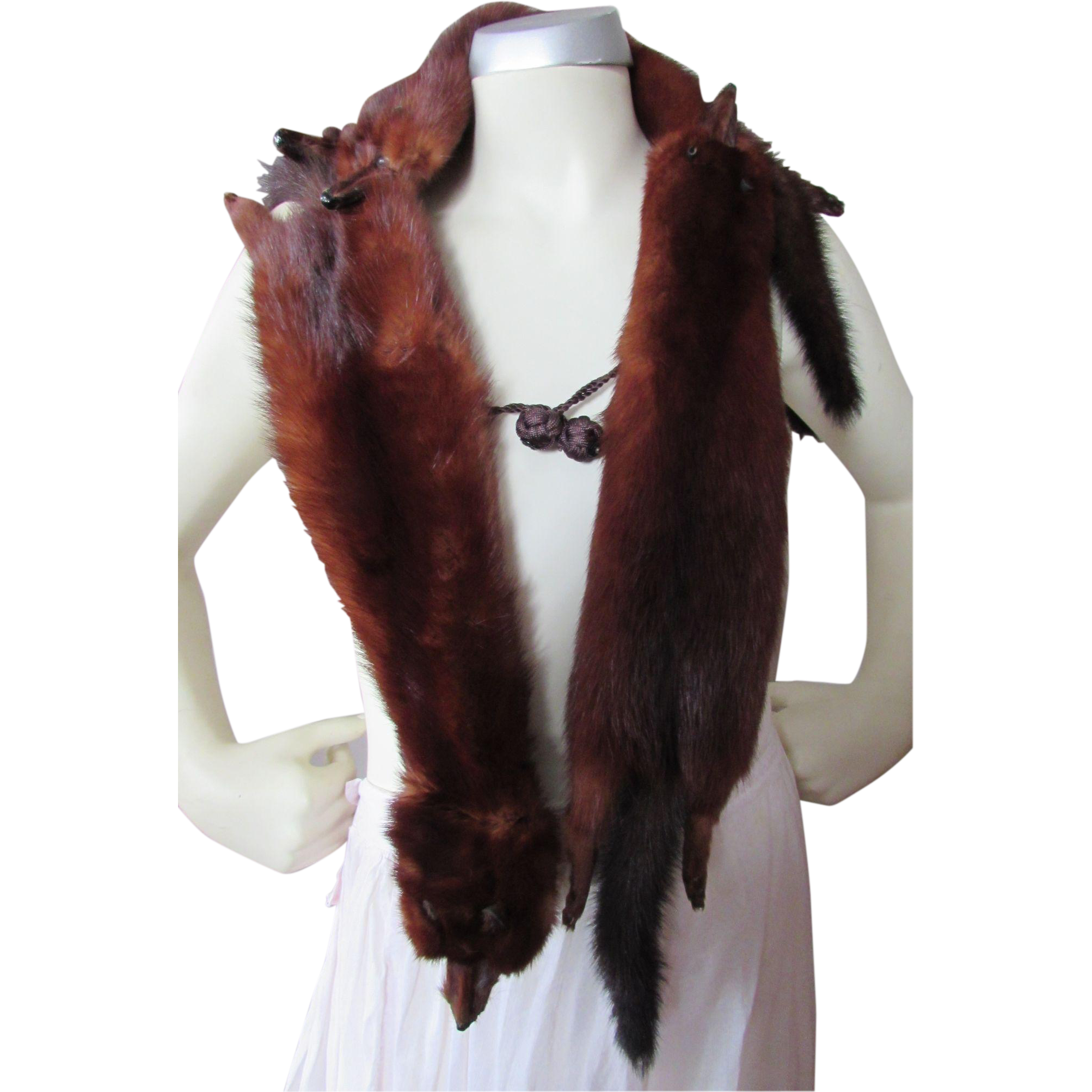 Handsome Four Mink Stole in Mahogany Tone