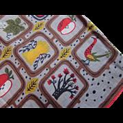 Mid Century Hankie Handkerchief in Farm Theme Chickens Wheat Apples