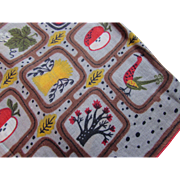 Mid Century Hankie Handkerchief in Farm Theme Chickens Wheat Apples