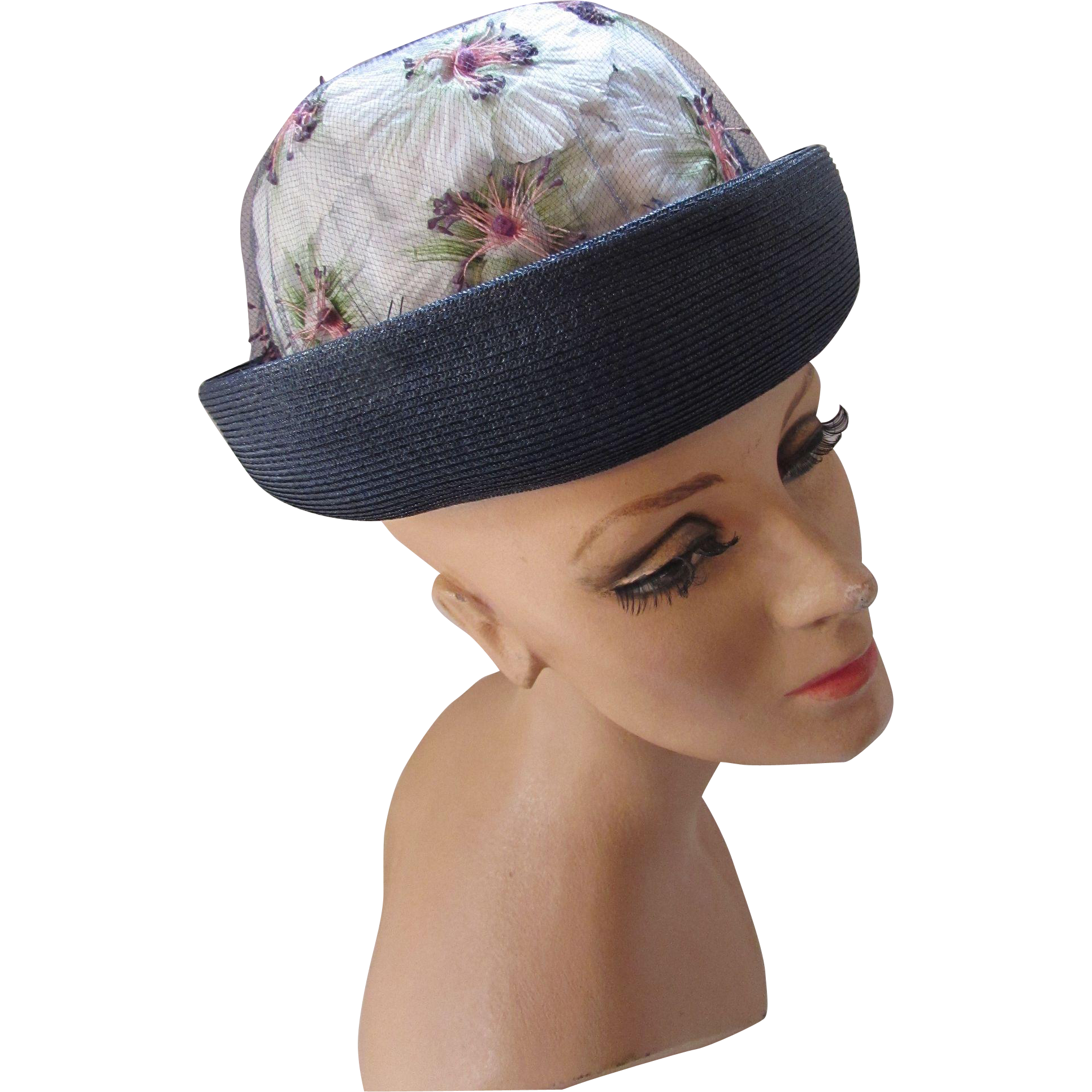 Mid-Century 1960 Style Modified Breton Hat with Navy Straw and Pouf Blossoms