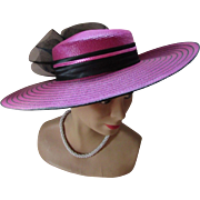 Jaunty Wide Brim Church Hat in Stripes of Fuchsia and Black Made in Taiwan 1980 1990 Style