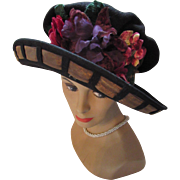 Black Brim Hat with Profusion of Flowers in Wool Felt by Doeskin Designed by Da Vinci Anna Karol