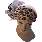 Dramatic Church Hat in Peony Pink and Animal Print by Mr. Hi's Classic Designs