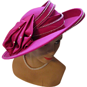Fantastic Wide Brim Church or Derby Hat  in Fuchsia Felt by Doeskin and Designed by Sylvia