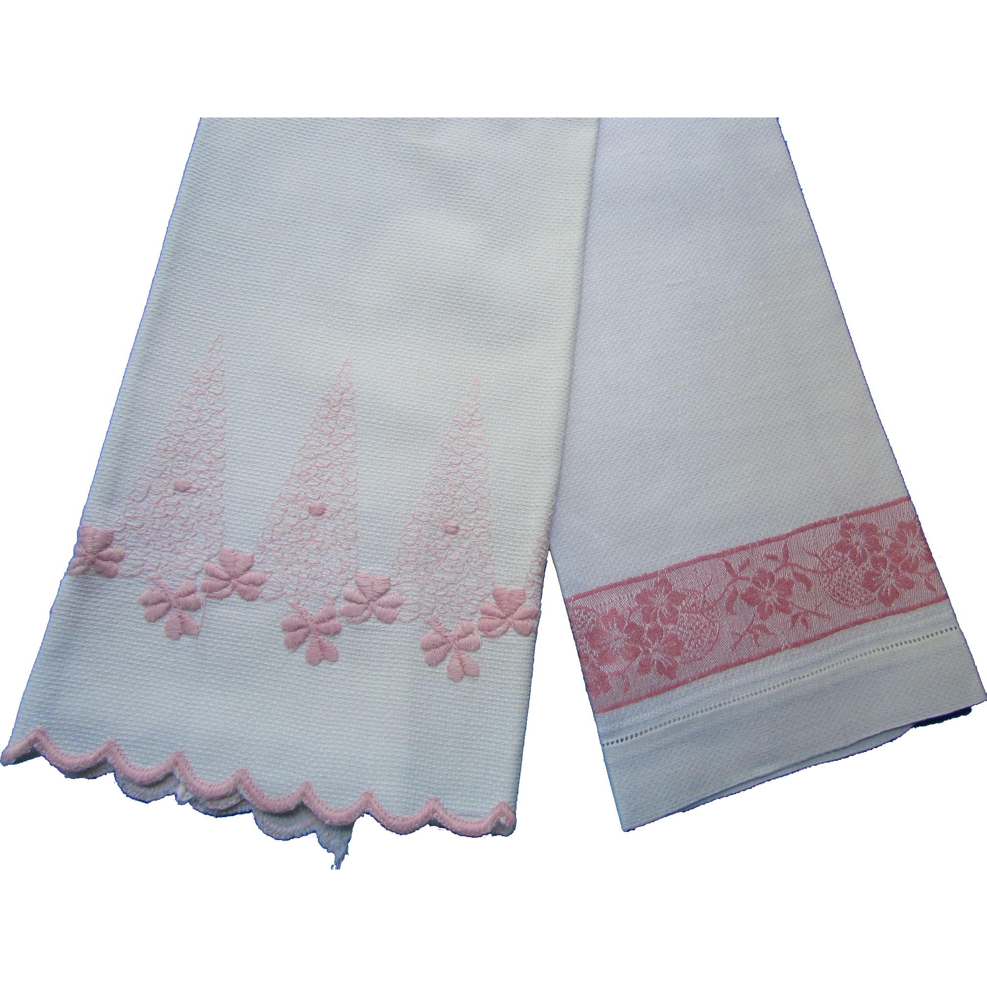 Cottage Style Pair Hand Guest Towels on Huck Linen with Pink Stitching and Damask Band Details