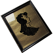 Charming Hand Drawn Portrait Framed Black on Gold Paper Painting of Cousin Evelyn