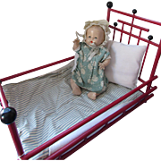 Vintage Doll Bed in Red and Black Stick and Ball Style