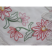 Pair Vintage Round Doilies with Embroidered Red Pink Flowers and Pineapple Crochet Edges