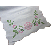 Cottage Style Embroidered Runner Scarf in Cross Stitch Pink Roses
