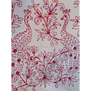 Lay Over Pillow Sham in White with Red Embroidery Peacocks for Salvage