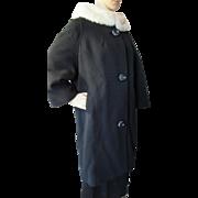 Attractive Mid Century Winter Coat in Black with White Fur Collar Union Label Stevens Rockford Illinois