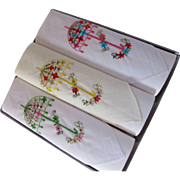 Sweet Trio Ladies Hankies in Original Box Embroidered Parasols Made in Taiwan