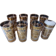 Vintage Culver Glass Ware Mid Century Tall Glasses with Gold Tone Pennsylvania Dutch Pattern