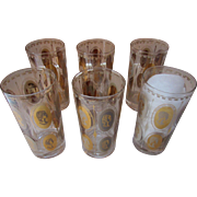 Set Mid Century High Ball Drink Glasses with Gold Gilt Women Cameos